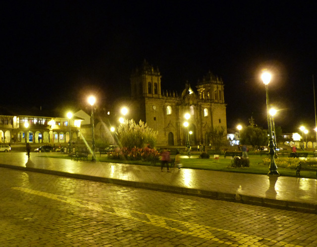 A night view from the Plaza de Armas of Cusco.